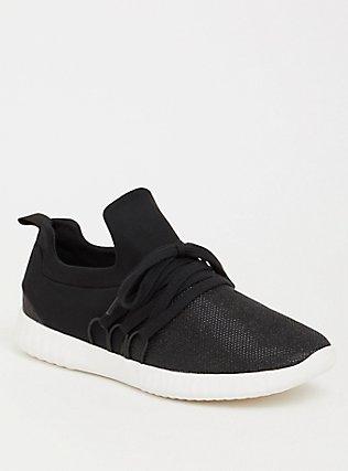 Plus Size Black Metallic Knit Sneaker (WW), BLACK, hi-res