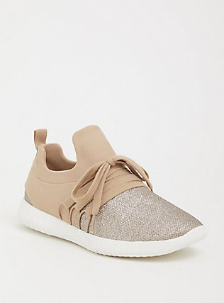 Plus Size Blush Pink Faux Leather & Rose Gold Sneaker (WW), GOLD, hi-res