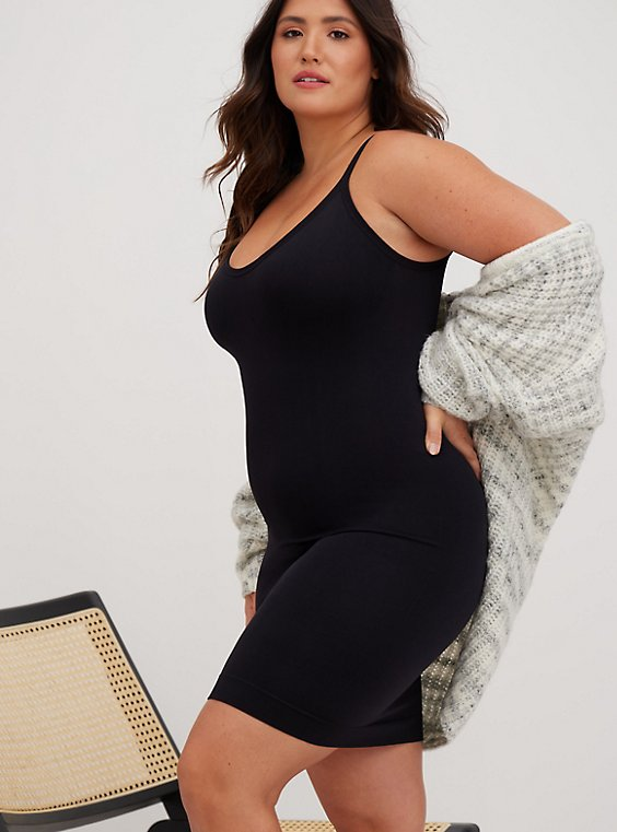 Plus Size Black Seamless 360° Smoothing Slip Dress, , hi-res