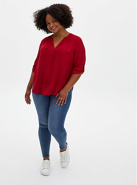 Harper - Red Button Front Georgette Blouse, JESTER RED, alternate