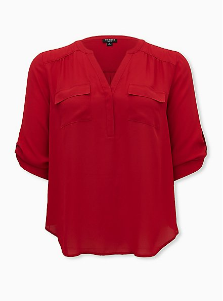Harper - Red Button Front Georgette Blouse, JESTER RED, hi-res
