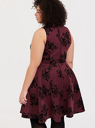 Dark Red Flocked Scuba Skater Dress, FLOCKED ROSES, alternate