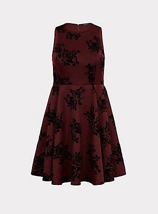 Dark Red Flocked Scuba Skater Dress, FLOCKED ROSES, flat