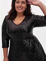 Black Sequin Skater Dress, DEEP BLACK, alternate