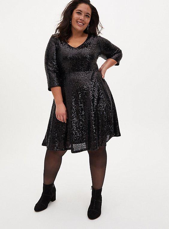 Black Sequin Skater Dress, DEEP BLACK, hi-res