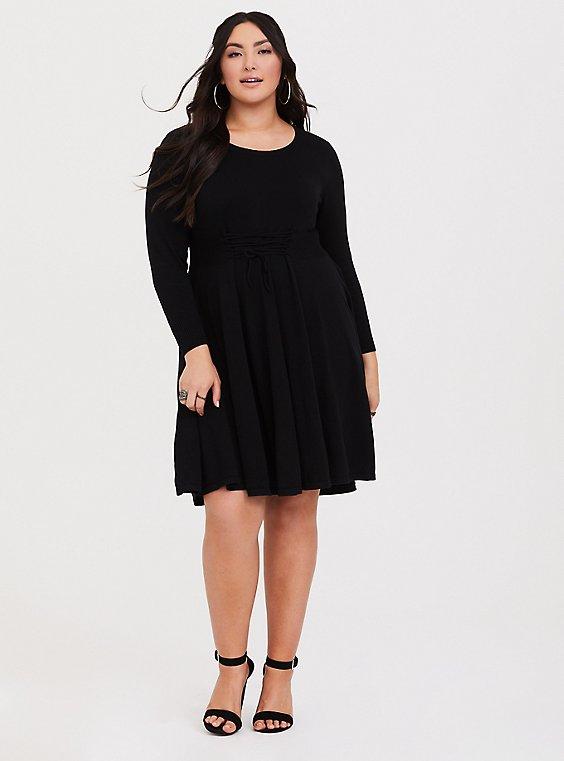 Black Lace Up Sweater Dress Plus Size Torrid