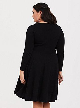 Black Lace-Up Sweater Dress, DEEP BLACK, alternate