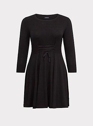 Black Lace-Up Sweater Dress, DEEP BLACK, flat
