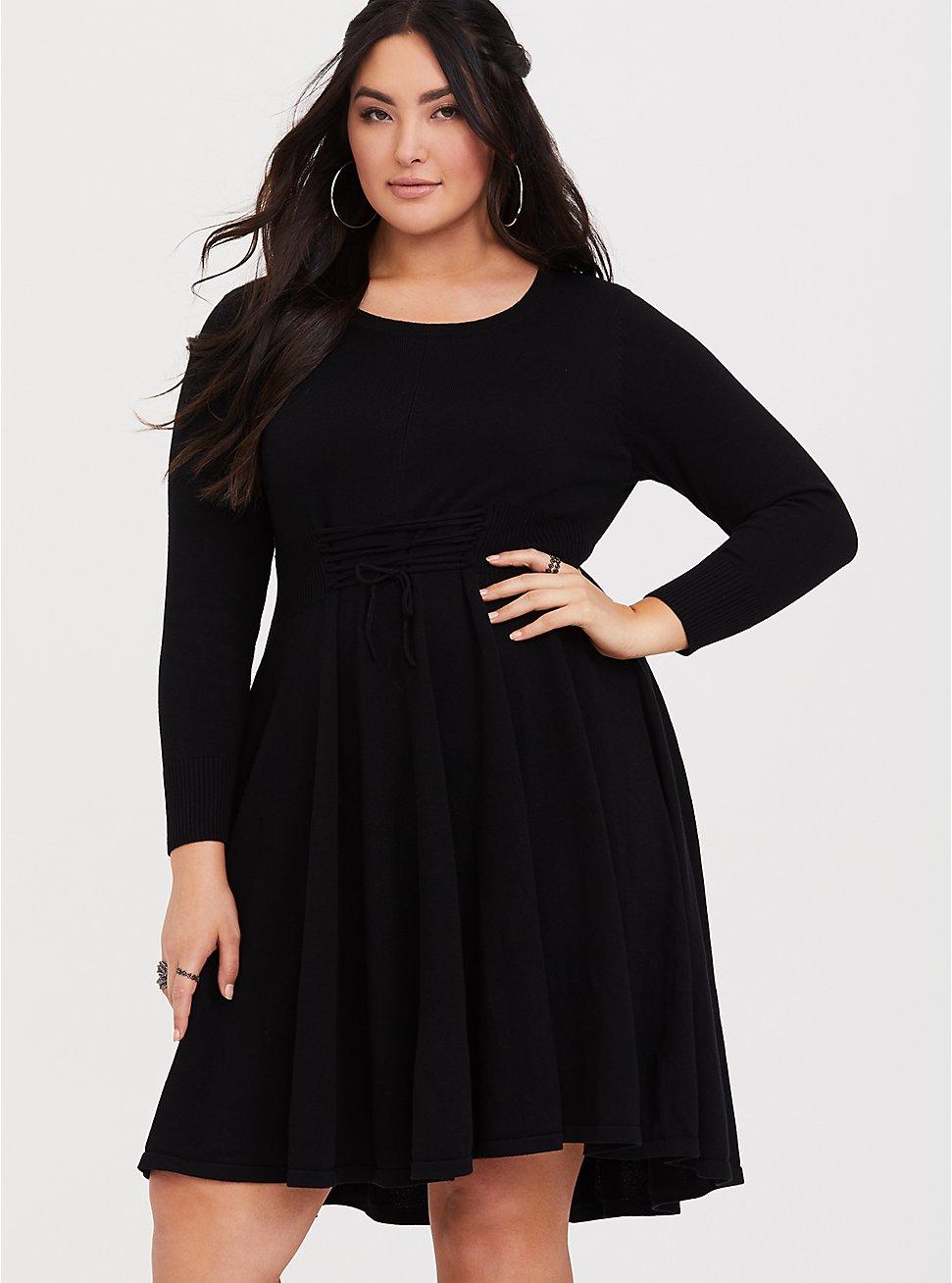 Black Lace Up Sweater Dress