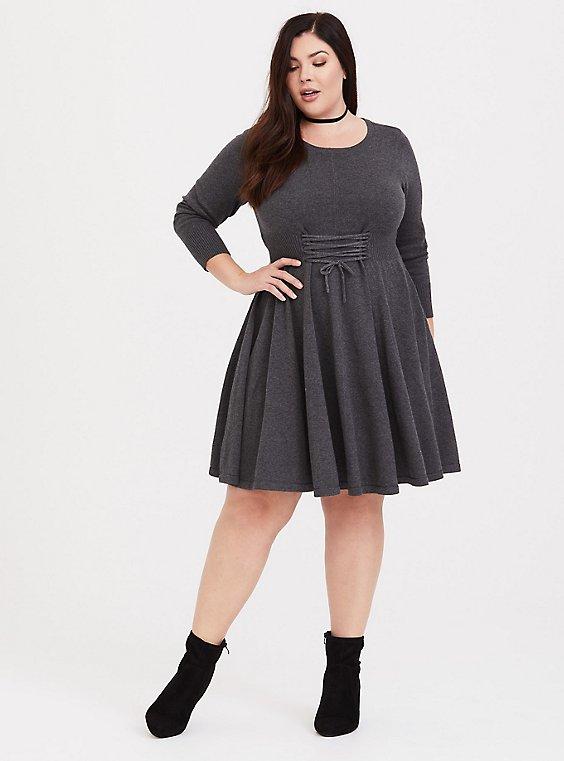 Grey Lace Up Sweater Dress Plus Size Torrid