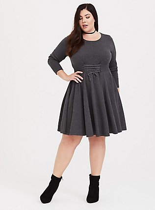 Charcoal Grey Lace-Up Sweater Dress, CHARCOAL HEATHER, alternate