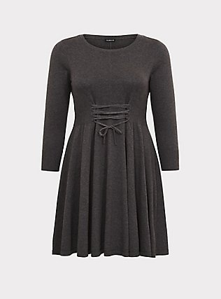 Charcoal Grey Lace-Up Sweater Dress, CHARCOAL HEATHER, flat