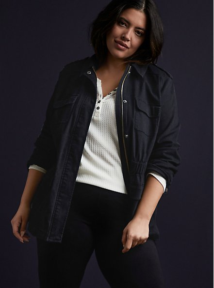 Plus Size Black Twill Anorak, DEEP BLACK, alternate