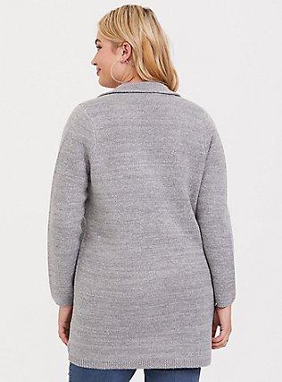 Grey Notched Collar Sweater Coat, GREY, alternate