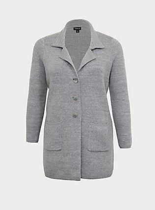 Grey Notched Collar Sweater Coat, GREY, flat