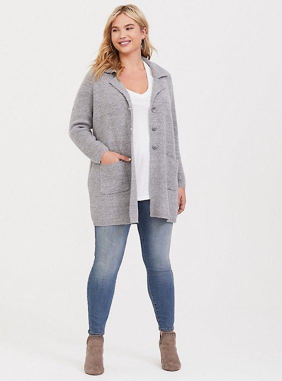 Grey Notched Collar Sweater Coat, , hi-res