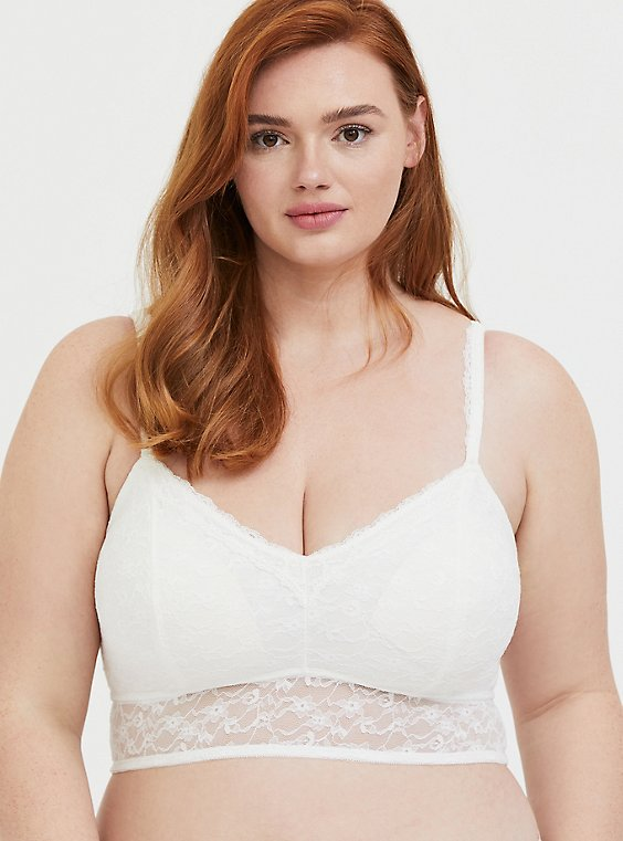 Plus Size Ivory Lace Padded Bralette, , hi-res