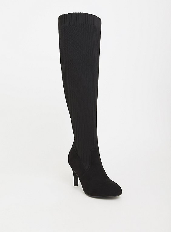 Plus Size Black Sock-Knit Over The Knee Boot (WW & Wide Calf), , hi-res