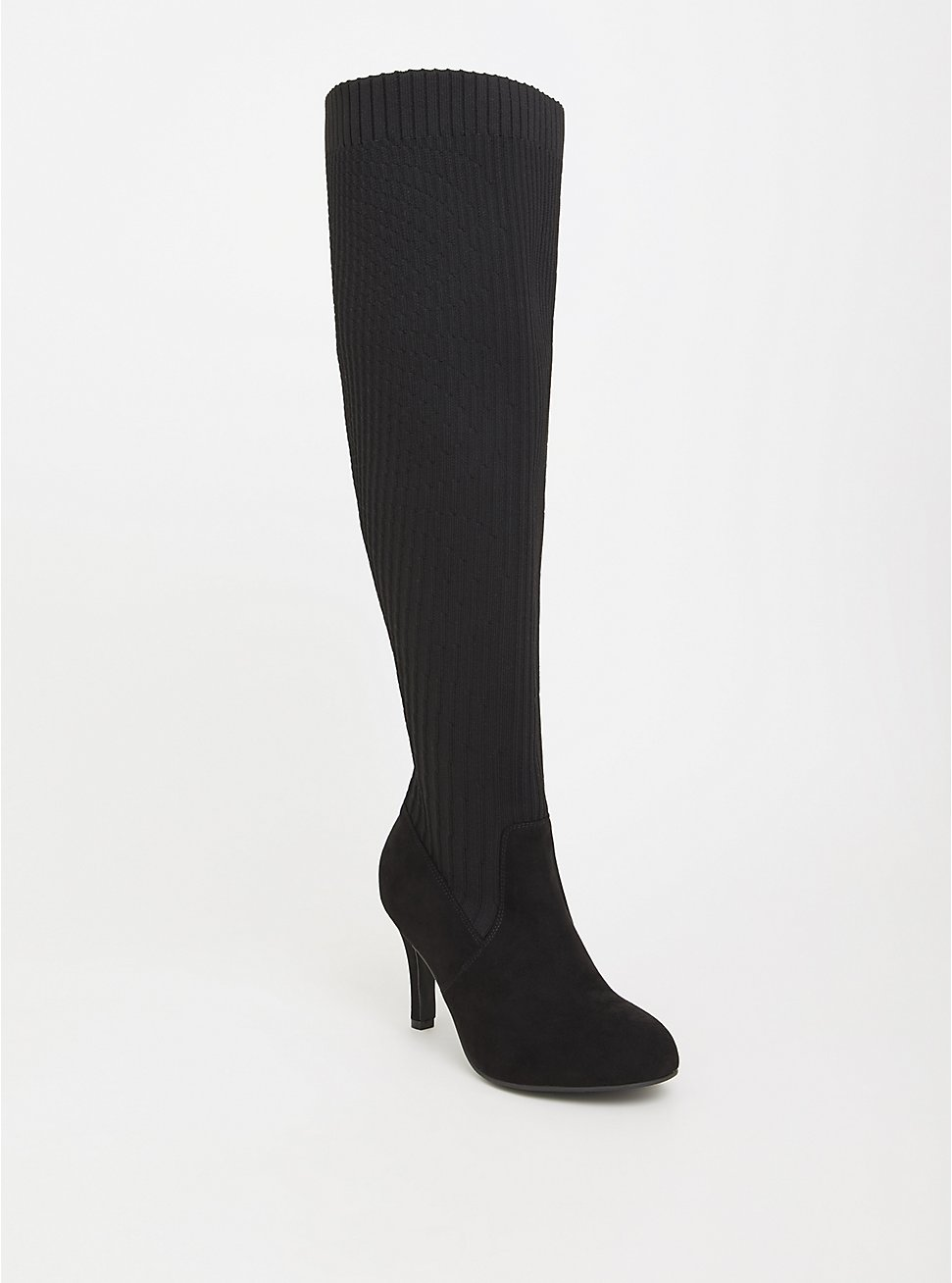 Plus Size Black Sock-Knit Over The Knee Boot (WW & Wide Calf), BLACK, hi-res