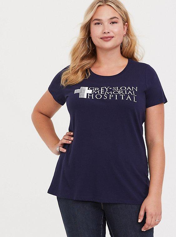 Greys Anatomy Navy Crew Neck Tee, , hi-res