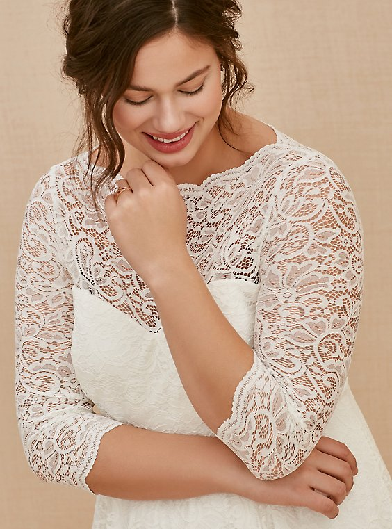 Ivory Lace Tea-Length Wedding Dress - Plus Size | Torrid