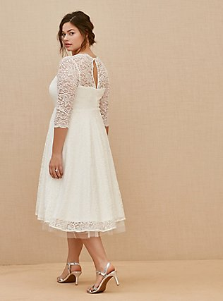 Plus Size Ivory Lace Tea-Length Wedding Dress, CLOUD DANCER, alternate
