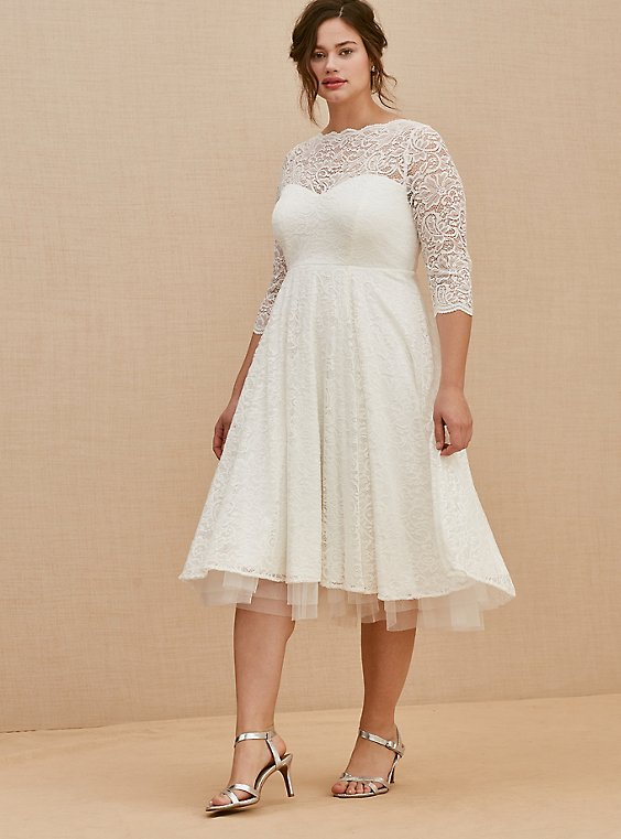 Plus Size Ivory Lace Tea-Length Wedding Dress, , hi-res