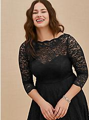Plus Size Special Occasion Black Lace Midi Dress, DEEP BLACK, alternate