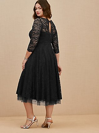 Special Occasion Black Lace Midi Dress, DEEP BLACK, alternate