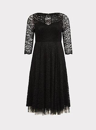 Special Occasion Black Lace Midi Dress, DEEP BLACK, flat