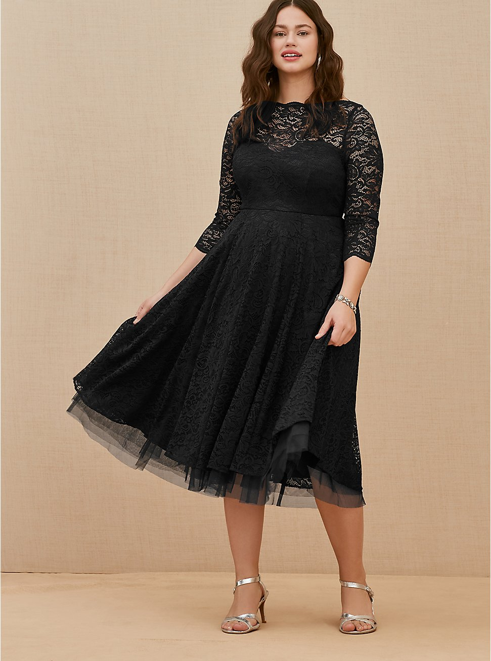 Plus Size Special Occasion Black Lace Midi Dress, DEEP BLACK, hi-res