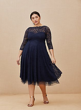 Special Occasion Navy Lace Midi Dress, PEACOAT, alternate