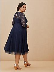 Plus Size Special Occasion Navy Lace Midi Dress, PEACOAT, alternate