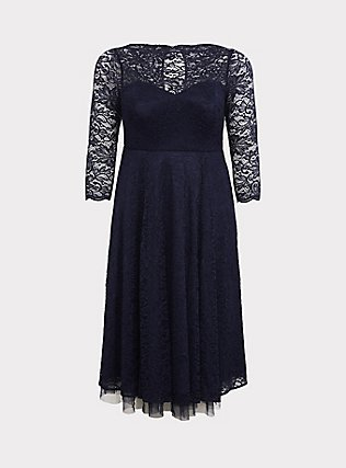 Special Occasion Navy Lace Midi Dress, PEACOAT, flat