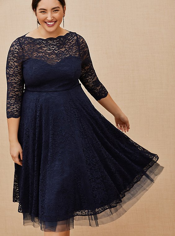 Plus Size Special Occasion Navy Lace Midi Dress, , hi-res