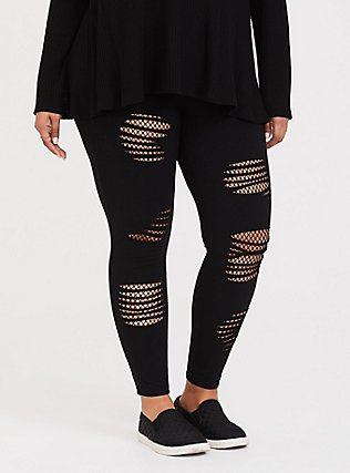 Premium Legging - Slashed Mesh Underlay Black, BLACK, alternate