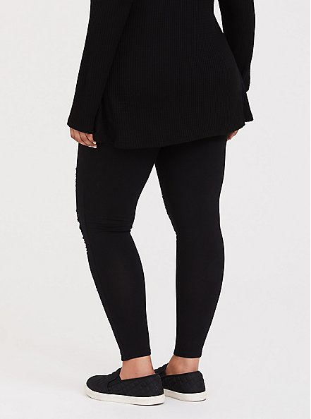 Plus Size Premium Legging - Slashed Mesh Underlay Black, BLACK, alternate
