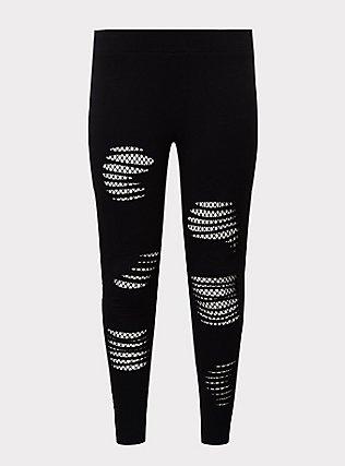 Premium Legging - Slashed Mesh Underlay Black, BLACK, flat