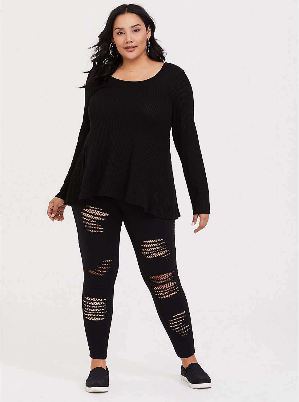 Plus Size Premium Legging - Slashed Mesh Underlay Black, BLACK, hi-res