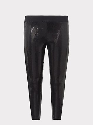 Plus Size Platinum Legging - Sequin Black, BLACK, flat