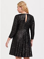 Plus Size Special Occasion Black Sequin Skater Dress, , alternate