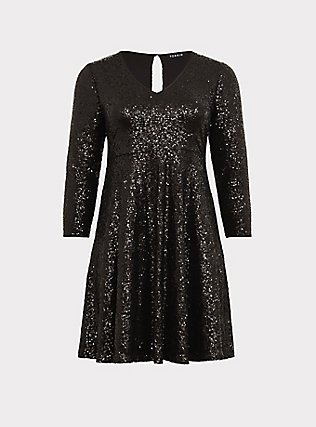 Special Occasion Black Sequin Skater Dress, , flat