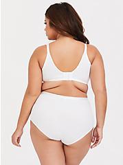 Plus Size White Microfiber 360° Smoothing Brief Panty, BRIGHT WHITE, alternate