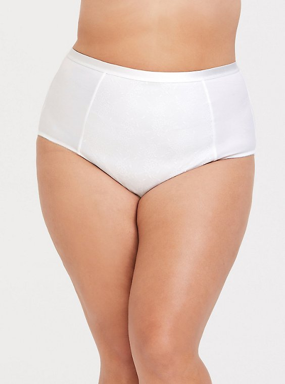 White Microfiber 360° Smoothing Brief Panty, , hi-res