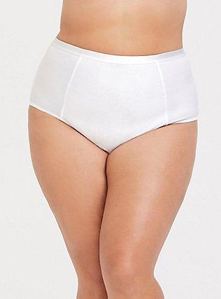 Plus Size White Microfiber 360° Smoothing Brief Panty, BRIGHT WHITE, hi-res
