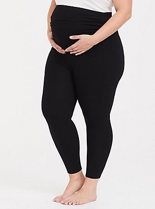 Crop Maternity Premium Legging - Black, BLACK, hi-res