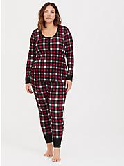 Red Multi Plaid Waffle Knit Sleep Tee, MULTI, alternate