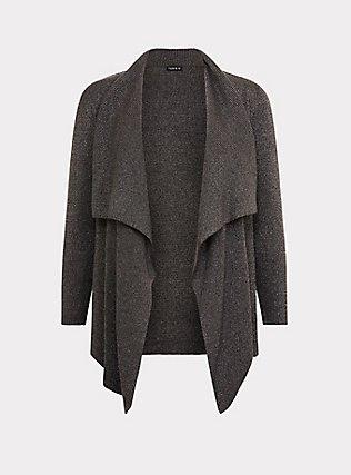 Grey Ribbed Shawl Drape Front Cardigan, GREY, flat