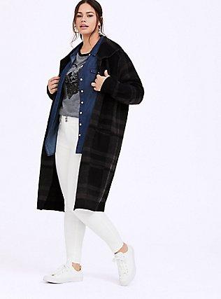 Plus Size Grey Plaid Longline Cardigan Coat, MULTI, alternate