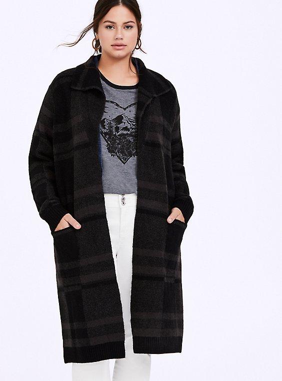 Grey Plaid Longline Cardigan Coat, , hi-res